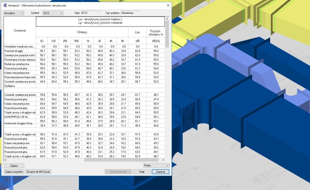 Obliczenia hałasu w sieci przewodów i tworzenie raportów 1