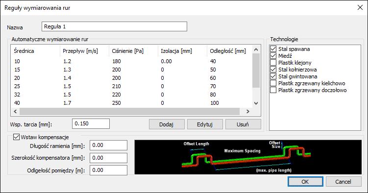 HYDRONICPACK Automatyczny dobór średnic 2D 1
